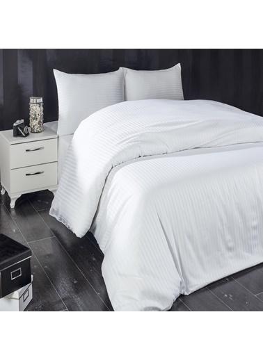 Komfort Home Tek Kişilik Çizgili Pamuk Saten Nevresim (Beyaz) Beyaz